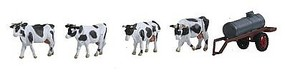 Noch Cows at a Water Trough (With Trailer) HO Scale Model Railroad Figure #16658