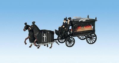 Noch GMBH & Co. Horse-Drawn Wagon Hearse -- HO Scale Model Figures -- #16714