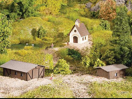 Noch Small Building Set Laser-Cut Kit - Chapel and 2 Barns - Z-Scale