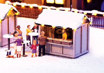 Noch GMBH & Co. Christmas Market Stall w/Led Lights Kit -- HO Scale Model Building -- #65610