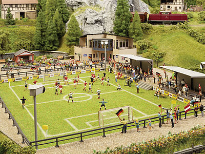 Noch GMBH & Co. Complete Football (Soccer) Scene -- HO Scale Model Railroad Building -- #66830