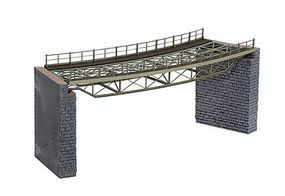 Noch Curved Steel Deck Truss Bridge Kit (9-5/8) HO Scale Model Railroad Bridge #67026