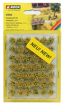 Noch GMBH & Co. Grass Tufts XL Yellow Blooming Flowers (42) -- Model Railroad Grass Earth -- #7026