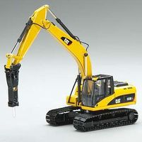 Norscot CAT 323D Tracked Excavator w/Hammer Diecast Model Tractor 1/50 scale #55282