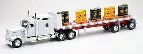 New-Ray Kenworth W900 w/Flatbed Trailer & Toxic Barrel Load Diecast Model 1/32 scale #10263