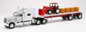 New-Ray Peterbilt 389 w/Flatbed Trailer, Farm Tractor & Hay Load Diecast 1/32 scale #10293