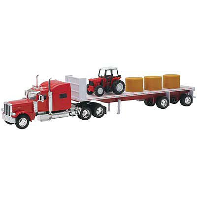 New Ray Toys Petrebilt 389 Flatbed w/Hay/Farm Tractor Color Will Vary -- 1/32 Diecast Model Truck -- #10293a