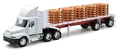 New Ray Toys Freightliner Century Class w/Flatbed Trailer & Pallet Load -- Diecast -- 1/32 scale -- #10593