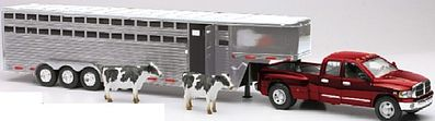 New Ray Toys Dodge Ram 3500 Extended Cab Pickup w/Livestock Trailer -- Diecast -- 1/32 scale -- #10923