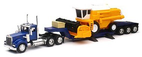 New-Ray 1/32 Kenworth W900 w/Lowboy Trailer & Combine Harvester (Die Cast)