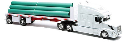 New Ray Toys Volvo VN780 w/Flatbed Trailer & Pipe Load -- Diecast Model Truck -- 1/32 scale -- #14223