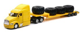 New-Ray 1/43 Peterbilt 87 w/Lowboy Trailer & Big Tire Load (Die Cast)