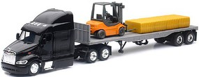 New-Ray 1/43 Peterbilt 87 w/Flatbed Trailer, Forklift & Hay Bale Load (Die Cast)