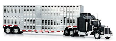 New Ray Toys Kenworth W900 with Pot Belly Livestock Trailer -- Diecast Model Truck -- 1/43 Scale -- #15243