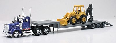 New-Ray Kenworth W900 w/Lowboy Trailer & Backhoe Loader Diecast Model 1/43 Scale #15303