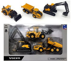 New-Ray 5.5'' Construction Vehicle Set- A25G Articulated Dump Truck, EC140E Excavator, L60H Wheel Loader (Die Cast)