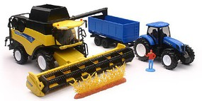 New-Ray 1/18 New Holland Harvester CR9090 Farm Vehicle & Tractor w/Trailer (Die Cast)