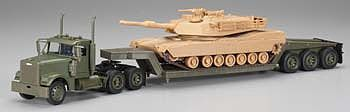 New Ray Toys Freightliner Lowboy w/M1A1 Tank -- Diecast Model Truck -- 1/32 scale -- #ss-61285