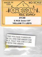 Oregon-Rail Yellow LEDs 1/8 (3mm) (6) HO Scale Model Railroad Light Bulb #139