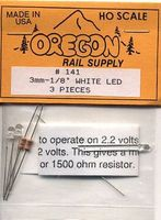 Oregon-Rail White LEDs 1/8 (3) HO Scale Model Railroad Light Bulb #141