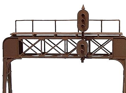Oregon-Rail Two-Track Signal Bridge (Plastic Kit) With Union Switch and Signal 1, 2 and 3 Light Targets - HO-Scale