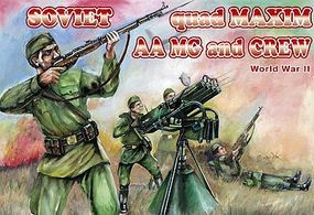 Orion WWII Soviet Quad Maxim AA MG (3) w/15 Crew Plastic Model Military Figure 1/72 Scale #72037