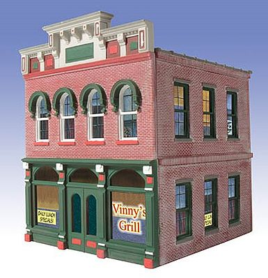 O-Gauge Railroading Vinny's Grill 2-Story Building Kit -- O Scale Model Railroad Building -- #824