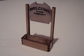 Osborn Welcome Sign (wooden kit) HO Scale Model Railroad Trackside Accessory #1021