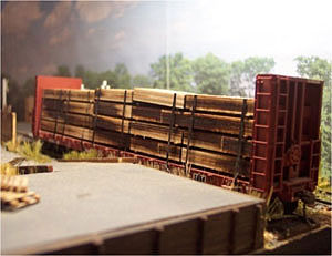 Osborn Model Kits Flatcar Lumber Load (Wooden Kit) -- HO Scale Model Train Freight Car Load -- #1070