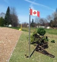 Osborn Canadian Flag + Pole 3pk HO Scale Model Railroad Trackside Accessory #1093