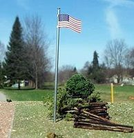 Osborn U.S. Flag + Pole 3 pack (wooden kit) HO Scale Model Railroad Trackside Accessory #1094