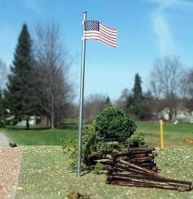 Osborn U.S. Flag + Pole 3 pack (wooden kit) N Scale Model Railroad Building Accessory #3094