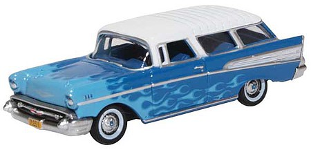 Oxford 1957 Chevrolet Nomad 2-Door Station Wagon - Assembled Blue, White, Light Blue Flames