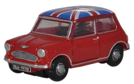 Oxford Austin Mini Red/Union Jck - N-Scale
