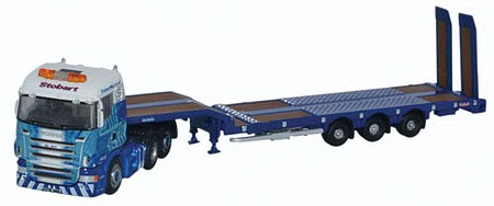 Oxford Scania Highline 3 Axle w/Low Loader Trailer - Assembled Stobar Rail - N-Scale