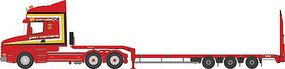 Oxford Scania T-Cab Tractor with Low-Boy Trailer Assembled Sandy Kydd (red) N-Scale