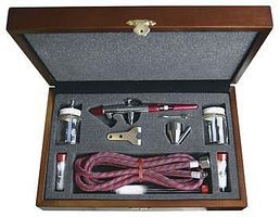 Paasche Wood Box Set w/MIL - all three heads Airbrush and Airbrush Set #mil-3w