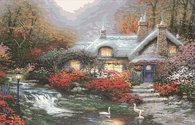 Plaid Thomas Kinkade Evening Swanbrooke Cottage (20x16) Paint By Number Kit #13393