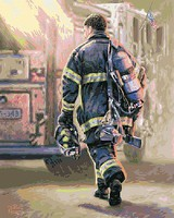 Plaid Thomas Kinkade- Selfless Service Firefighter Paint by Number (16x20)