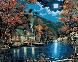 Lakeside Cabin (16x20) Paint By Number Kit #21690