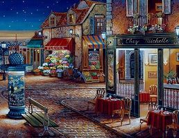 Plaid Starry Night (Town Street/Shops) (20x16) Paint By Number Kit #21757