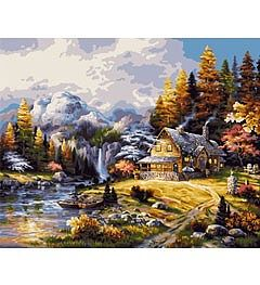 Plaid Paint By Numbers Mountain Hideaway (20''x16'') -- Paint By Number Kit -- #21778
