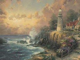 Plaid Thomas Kinkade The Light of Peace (Lighthouse)(20x16) Paint By Number Kit #21786