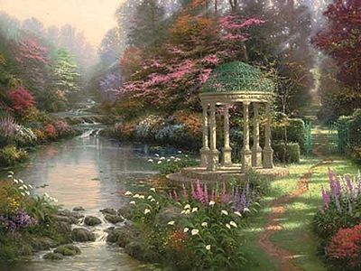 Plaid Paint By Numbers Thomas Kinkade The Garden of Prayer (Gazebo/Stream)(20''x16'') -- Paint By Number Kit -- #21787