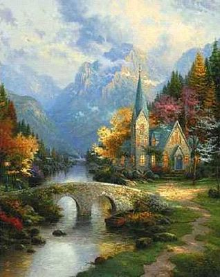 Plaid Paint By Numbers Thomas Kinkade- The Mountain Chapel (16''x20'') -- Paint By Number Kit -- #22030