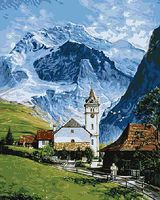 Plaid Grindelwald Village in Switzerland (16x20) Paint By Number Kit #22032