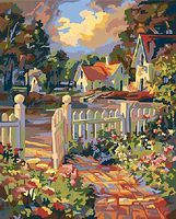 Beyond the Gate (White Picked Fence & Country Houses)(16''x20'') Paint By Number Kit #22034