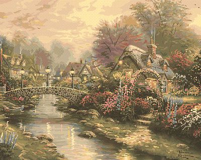 Plaid Paint By Numbers Thomas Kinkade- Lamplight Bridge (20''x16'') -- Paint By Number Kit -- #22040