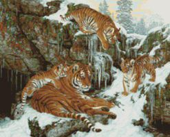 Plaid Family Dynasty (Den of Tigers/Snow Scene)(20x16) Paint By Number Kit #22042