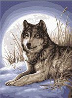Plaid Watchful Pause (Wolf Moon Winter Scene) (11x14) Beginner Paint By Number Kit #22055